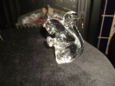 VINTAGE HEAVY SOLID CLEAR GLASS SQUIRREL ORNAMENT GREEN GLOW UNDER UV 330g  4""